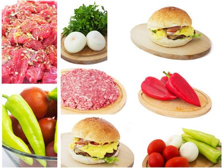 carnes y verduras: Alimentos Conjunto de diferentes carnes y verduras crudas. Aislado en un fondo blanco.