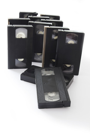 videocassette: Old VHS Video Cassettes Isolated on a White Background.