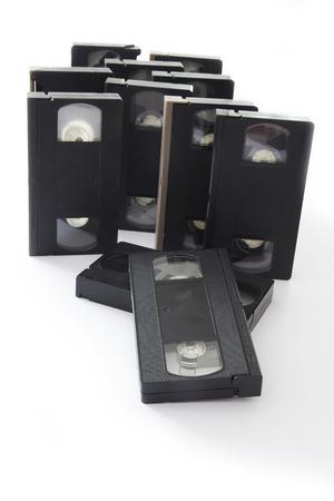 videocassette: Viejo VHS videocasetes Aislado en un fondo blanco. Foto de archivo