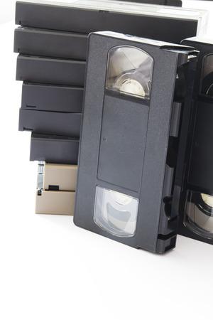 videocassette: Antiguo videocasetes Aislado en un fondo blanco Foto de archivo