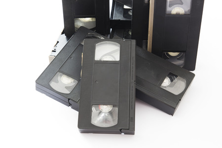 videocassette: Old Video Cassettes Isolated on a White Background. Stock Photo