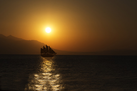 schooner: Schooner Silhouette at Beautiful Sunrise. Mediterranean Sea.