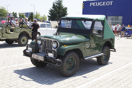 old timer: SKOPJE MACEDONIA  JUNE 13 2015: Old Jeep on 10th Old Timer Car Show June 13 2015 in Skopje. The event organized by Euroimpex from Skopje. Editorial