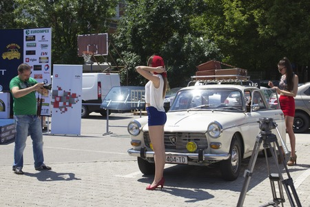 old timer: SKOPJE MACEDONIA - JUNE 13 2015: Photo session on 10th Old Timer Car Show, June 13, 2015 in Skopje. The event organized by Euroimpex from Skopje. Editorial