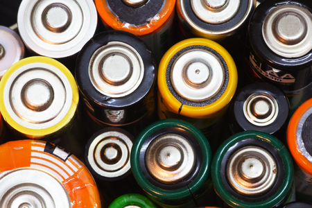 aaa: Group of Old AA, AAA and C Batteries in Closeup. Selective Focus.