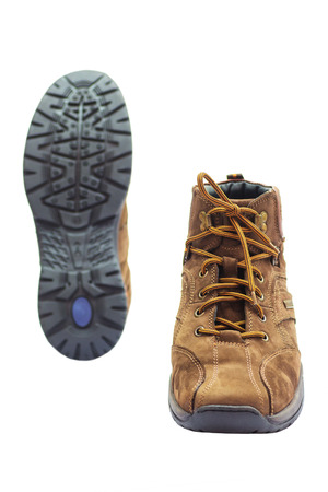 rubber sole: Winter Leather Shoes with Rubber Sole. Isolated on White Background.