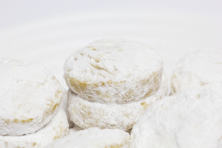 macedonian: Cookies in the Circular Shape, Covered Powdered Sugar. Vanilici - Traditional Macedonian Cakes.