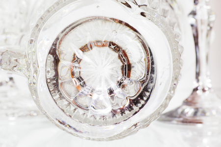 Close Up of Detail of a Crystal Glass. Abstract Background.