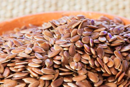 organic flax seed: Closeup of Organic and Raw Flax Seed. Organic Food Background.