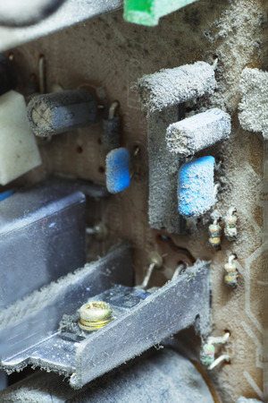 deconstruct: Detail of Dusty Inside of Old Television, Close Up. Stock Photo
