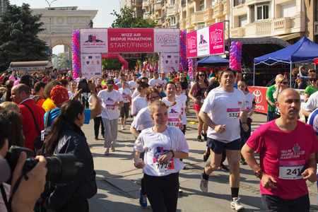 mid distance: SKOPJE - MAY, 08: Over 7,000 Registered Runners Participate in the Skopje Marathon on May 08, 2016 in Skopje, Macedonia.