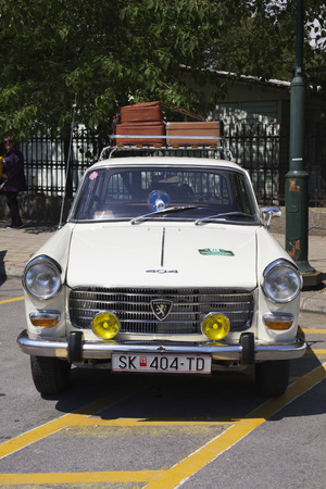 mini bike: SKOPJE MACEDONIA - MAY 07 2016: Old Peugeot on 11th Old Timer Car Show, May 07, 2016 in Skopje. The event organized by Euroimpex from Skopje.