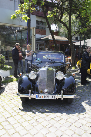 mini bike: SKOPJE MACEDONIA - MAY 07 2016: Old Mercedes on 11th Old Timer Car Show, May 07, 2016 in Skopje. The event organized by Euroimpex from Skopje.