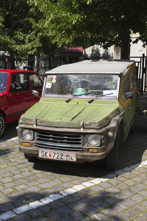 mini bike: SKOPJE MACEDONIA - MAY 07 2016: Old Citroen on 11th Old Timer Car Show, May 07, 2016 in Skopje. The event organized by Euroimpex from Skopje.