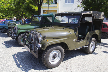 old timer: SKOPJE MACEDONIA - MAY 07 2016: Old Jeep on 11th Old Timer Car Show, May 07, 2016 in Skopje. The event organized by Euroimpex from Skopje. Editorial
