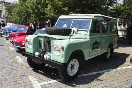 mini bike: SKOPJE MACEDONIA - MAY 07 2016: Old Land Rover on 11th Old Timer Car Show, May 07, 2016 in Skopje. The event organized by Euroimpex from Skopje.