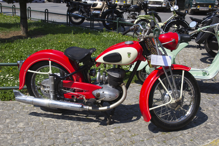 mini bike: SKOPJE MACEDONIA - MAY 07 2016: Oldtimers Classic Cars and Motorcycles presented on 11th Old Timer Car Show, May 07, 2016 in Skopje. The event organized by Euroimpex from Skopje.