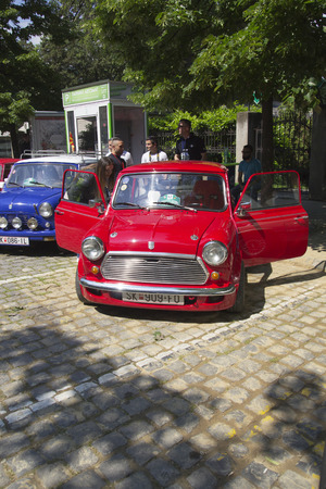 old timer: SKOPJE MACEDONIA - MAY 07 2016: Old Mini on 11th Old Timer Car Show, May 07, 2016 in Skopje. The event organized by Euroimpex from Skopje.