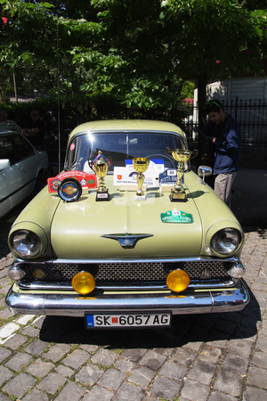 old timer: SKOPJE MACEDONIA - MAY 07 2016: Oldtimers Classic Cars and Motorcycles presented on 11th Old Timer Car Show, May 07, 2016 in Skopje. The event organized by Euroimpex from Skopje.