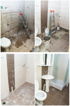 refurbish: House Renovation - Before and After the Renovation of a Bathroom.