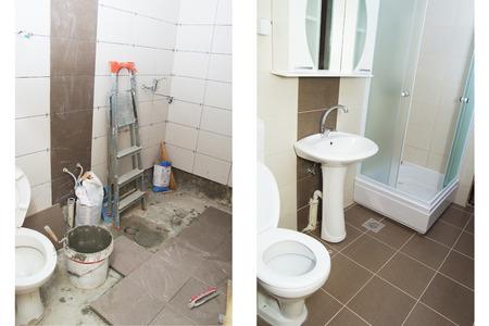 Haus Renovierung - Vor und nach der Renovierung eines Badezimmer. Standard-Bild