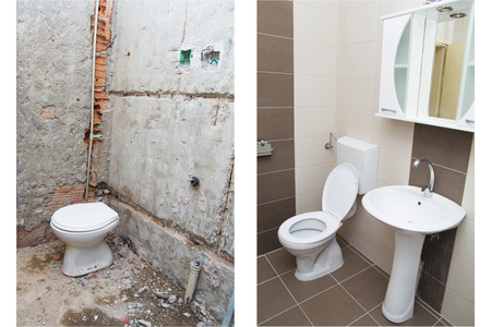 Maison Rénovation - Avant et après la rénovation d'une salle de bains.