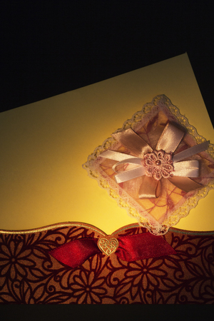 envelop: Handmade Gift or Invitation Card with Big Space for your own Text. On Black Background.
