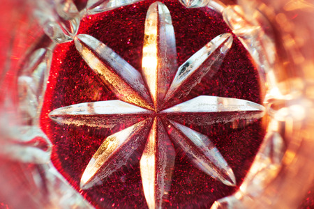 Close up of detail of a old crystal glass. Abstract background. Stock Photo
