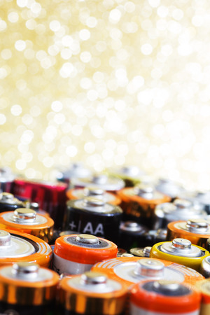 accumulator: Group of old used batteries for recycling in different size. Selective focus. Stock Photo