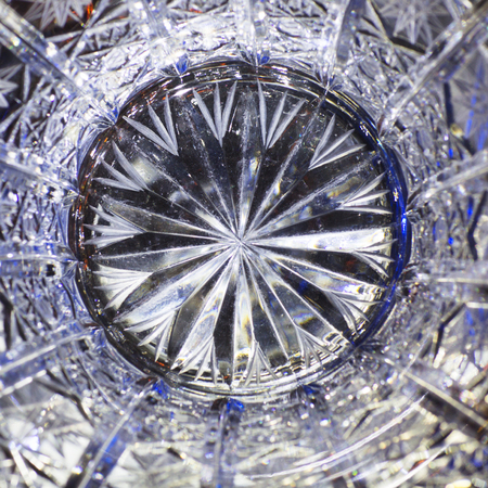 Close up of detail of a old crystal glass. Abstract background. Reklamní fotografie