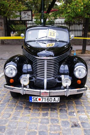 SKOPJE MACEDONIA - SEPTEMBER 29 2018: Retro car and motorbikes on exhibition of vintage auto. The exhibition called Old Timer Car Show September 29 2018 in Skopje. Editorial