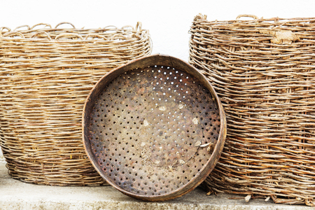 The old traditional Macedonian аntique household utensils. Banco de Imagens