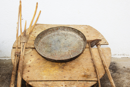 Old traditional household tools from Macedonian village more than 100 years old.