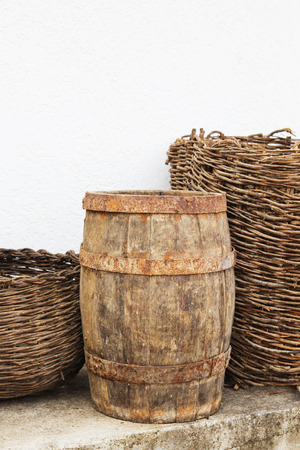 Ancien wooden barrel. Old home utensils more than 100 years old.