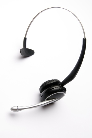 headset voice: Wireless Telephone Headset on White Background