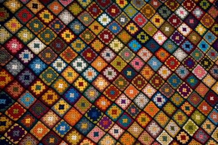Afghan of granny squares Stock Photo