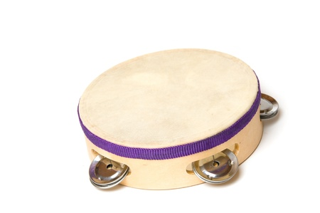 pandero: Pandereta con fondo blanco