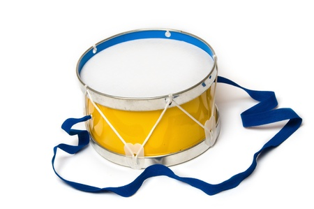 Toy drum on white background Stock Photo