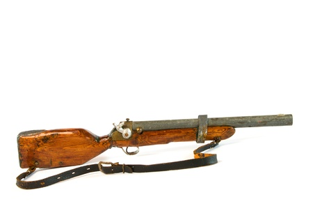antique rifle: Old antique toy rifle Stock Photo