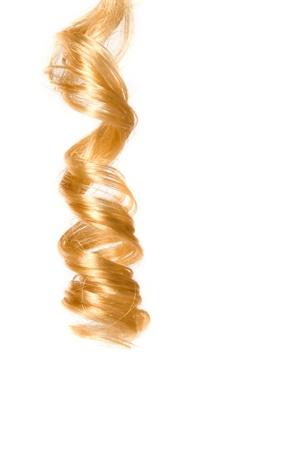 Blonde krullend haar met witte achtergrond