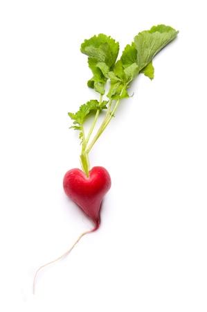 Rode radijs gevormd als een hart