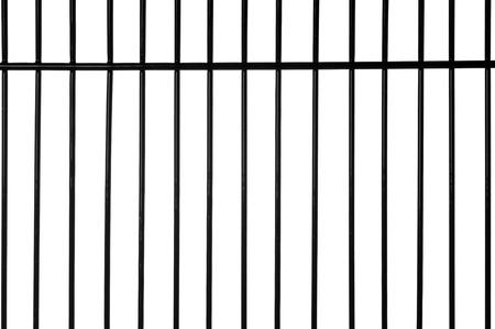 rejas de hierro: Barras de metal negras con fondo blanco Foto de archivo