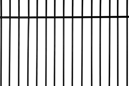 iron fence: Black metal bars with white background