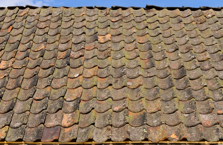 Old terracotta roof tiles photo