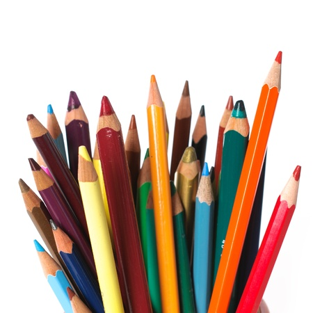 art and craft equipment: used color crayons