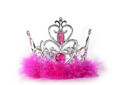 Princess tiara crown with pink feather and jewelry photo