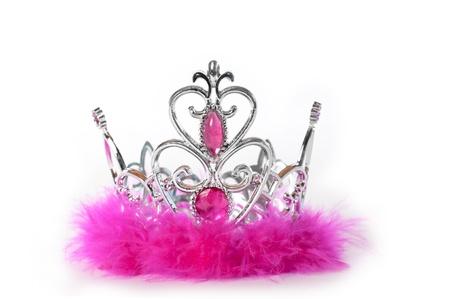 Princess tiara kroon met roze veren en sieraden