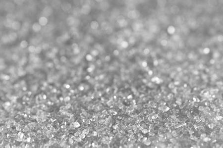 Zilveren suiker schitteren achtergrond met nadruk aan de voorkant Stockfoto
