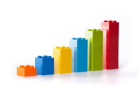 Business grafiek gemaakt van Lego blokken