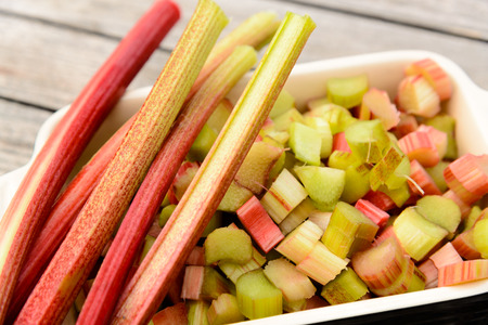 stalk and pieces of rhubarb